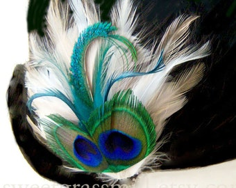 "Bridal Peacock Fascinator ""Bella Fiore"" Peacock & Ivory, Cream and Champagne Feathers - Choose Headband or Clip"
