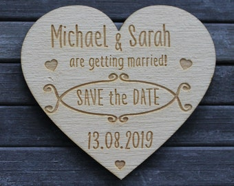 Wooden 'Getting Married!' Heart Shaped Personalised SAVE THE DATE Fridge Magnets
