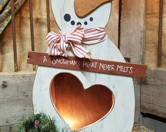 Lighted Heart Snowman
