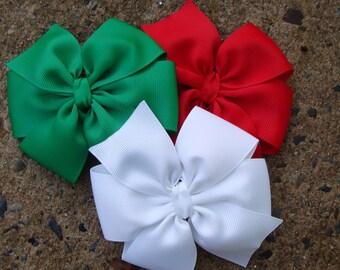 Christmas large 4 inch Hair Bows Set
