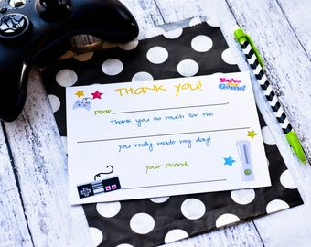 Video Game Fill In the Blank Thank You Notes / Kids Gamer Thank You Notes / Video Gamer Thank You Note Cards / Video Game Fill In The Blank