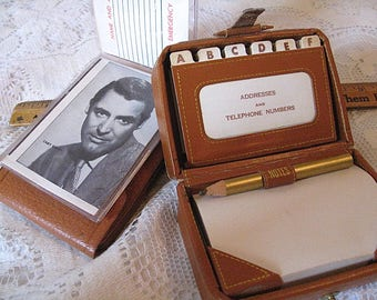 Pigskin Vintage Card Holder and Leather Like Mini Suitcase Address Book Notepad Holder With Pencil Lot of Two To Keep You Organized C Detail