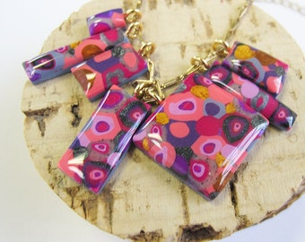 Color Pop! Charm Pendant Necklace | Pink & Gold | Statement