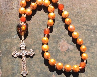 Copper Pearl  and Carnelian Anglican Rosary  Protestant Prayer Beads   Episcopal Rosary  Episcopal Prayer Beads
