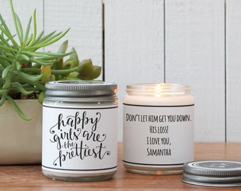 Happy Girls are the Prettiest Soy Candle Gift | Friend Gift | Gift for Her | Cheer Up Gift | Inspirational Gift | Break Up Gift | Smile Gift