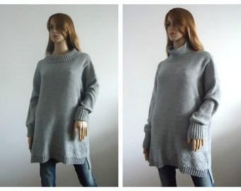 SALE Sweater Slouchy oversized wool knit Ready to Ship  gray Bulky pullover long sleeves Chunky Handmade Women Long knit sweater turtleneck
