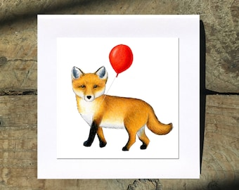 Fox with (or without!) Red Balloon Drawing 5 Inch Square Blank Cards by SBMathieu