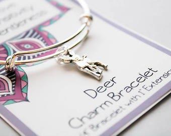bangle Charm Bracelet - Deer Bracelet - Animal Totem Bracelet - Intuitive - Sensitivity - Gentleness -