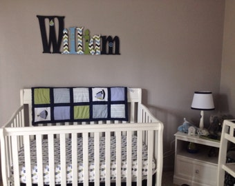 Custom Boys Name Sign - Nursery Wall Letters Name Sign - Wood Wall Letters Boy Style Nautical theme