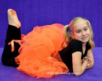 Flo Orange Longer Length Puff Ball Tutu Skirt Pumpkin, 80s Disco, Very Very Full