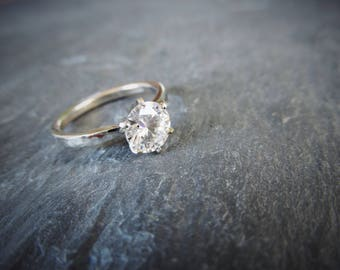 Forever One Colorless Moissanite 6 Prong Low Profile Hammered Band Solitaire Engagement Ring. 14k Gold. Diamond Alternative. Made To Order.
