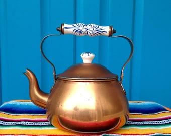 FREE SHIPPING-Vintage Copper Tea Kettle with Porcelain Delft Blue Handle-Farmhouse-Boho-French Cottage-Mid Century-Kitchen Decor
