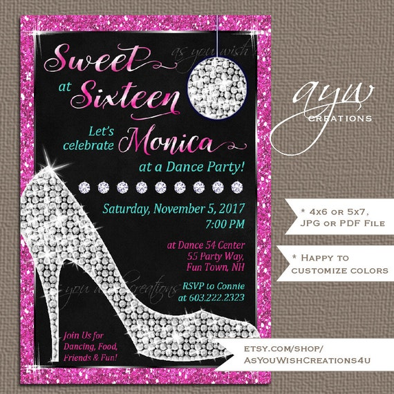 Sweet Sixteen Invitations Sweet 16 Birthday Party Invites High