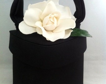 Black satin flower purse - oval style
