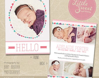 5x7 Birth Announcement Template (Baby Announcement) - Photoshop Template for photographers (BA5G) - INSTANT DOWNLOAD
