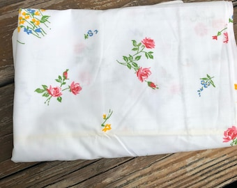 Vtg Pacific Floral Full flat sheet Cotton Pink Blue Green Yellow Bedding 60s 70s. Vintage Bed Linens. 1960s 1970s.