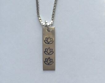 Lotus Flower Handstamped Sterling Silver Bar Necklace