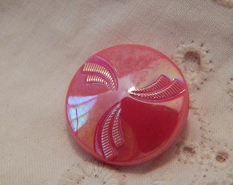 Vintage Red Glass Button with Iridescent Finish