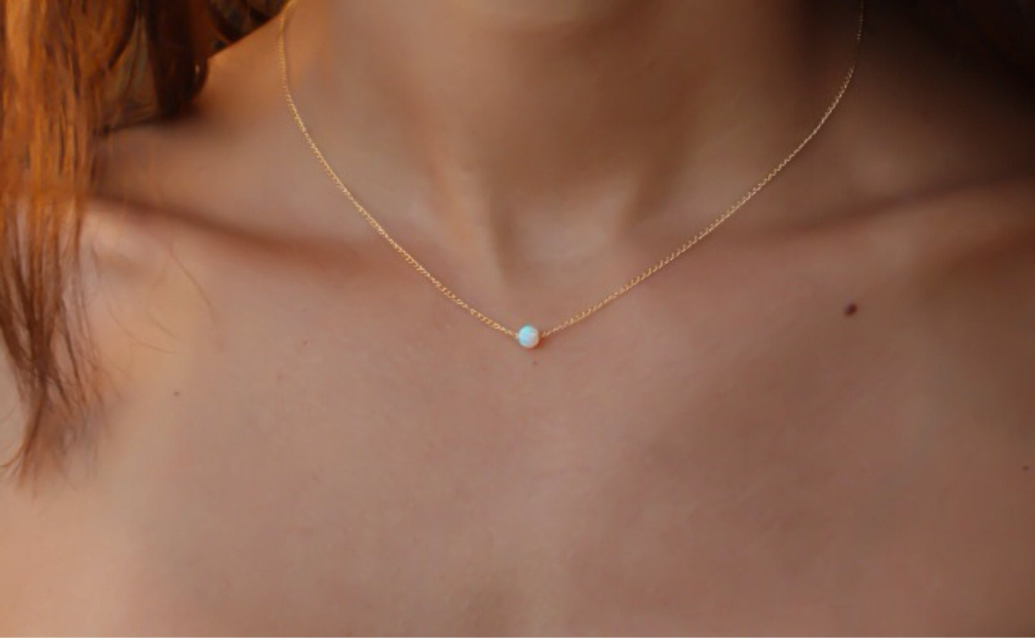 Opal jewelry white opal necklace opal rose gold necklace