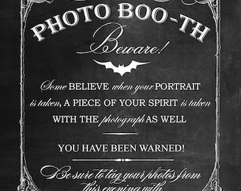 ChalkBoard Photo Booth Printable Sign for Halloween, Horror, Goth, Offbeat Wedding!