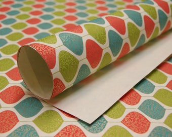 Green Blue Red Gold Leaf print on cream handmade Wrapping Paper gift wrap set of two large sheets