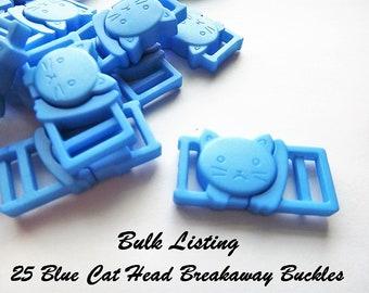 "Bulk Listing 25 Blue Cat Collar Buckles - 1/2"" Cat Head Breakaway Buckles - Cat Collar Parts"