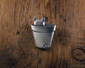 Flower Pot Cat Brooch