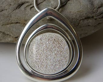 Shimmering White Dichroic Fused Glass Pendant in Silver Plated Teardrop Setting