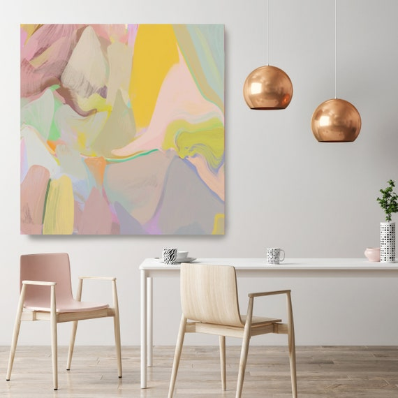 "Large Canvas Art Abstract Print on Canvas up to 50"", Blush Pink Yellow Abstract Canvas Art Print, Sunny City by Irena Orlov"