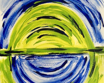Blue-green world.  Original, acrylic, abstract, modern painting.