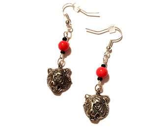 Tiger Earrings. Black and Orange.