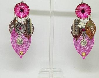 Beautiful pink flower cabochon earrings
