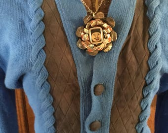 Vintage royal blue and black suede double knit orlon acrylic cardigan sweater