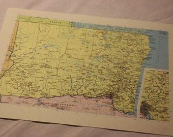 Vintage Map Print Oregon