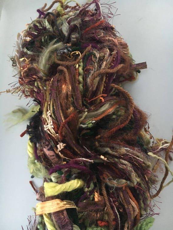 Art Yarn, Diva Skein, Custom Scarf Skein Yarn, approx 160 yards mixed fiber hand-tied novelty yarn, scrapbooking, fiber bundle