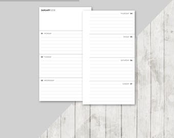 BO-PERS | 2018 Lined Week On 2 Pages Printable Planner Insert - 2018 Weekly Two Pages Personal Inserts Filofax Calendar Printable