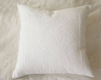White embroidered cushion cover, 16 x 16 in,  cotton cushion, Bohemian cushion, accent cushion, decorative pillow