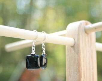 Handmade Earrings Black Onyx Earrings Black Gemstone Earrings Black Onyx Dangle Black Onyx Gemstone Earrings Black Earrings Black Dangle