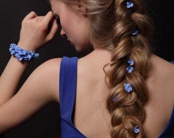 hydrangea hair pins, blue hydrangea, bobby pins, set 6 bobby pins, hydrangea, hair bobby pin, polymer clay pin, blue, hair pin