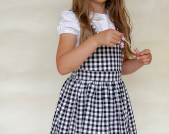 Bella Pinafore Dress in Black Gingham