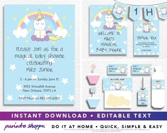 Unicorn Baby Shower It's a Boy - Party Printables / Invitation - INSTANT DOWNLOAD - Fully EDITABLE text