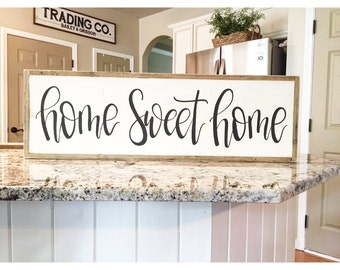 Home Sweet Home Sign | LARGE Framed Sign | Fixer Upper Style | Farmhouse Sign | Hand Painted Sign | Personalized Sign
