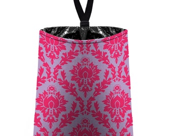 Car Trash Bag // Auto Trash Bag // Car Accessories // Car Litter Bag // Car Garbage Bag - Damask - Hot Pink Pale Lavender // Car Organizer