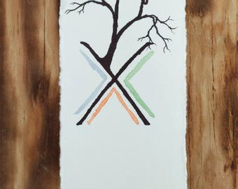Bookmark Handmade Pen and Ink with Watercolor