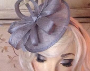 Grey Kentucky Derby Hat - Grey Fascinator Hat - Tea Party Hat - Fancy British Church Hat, Wedding Fascinate Headband