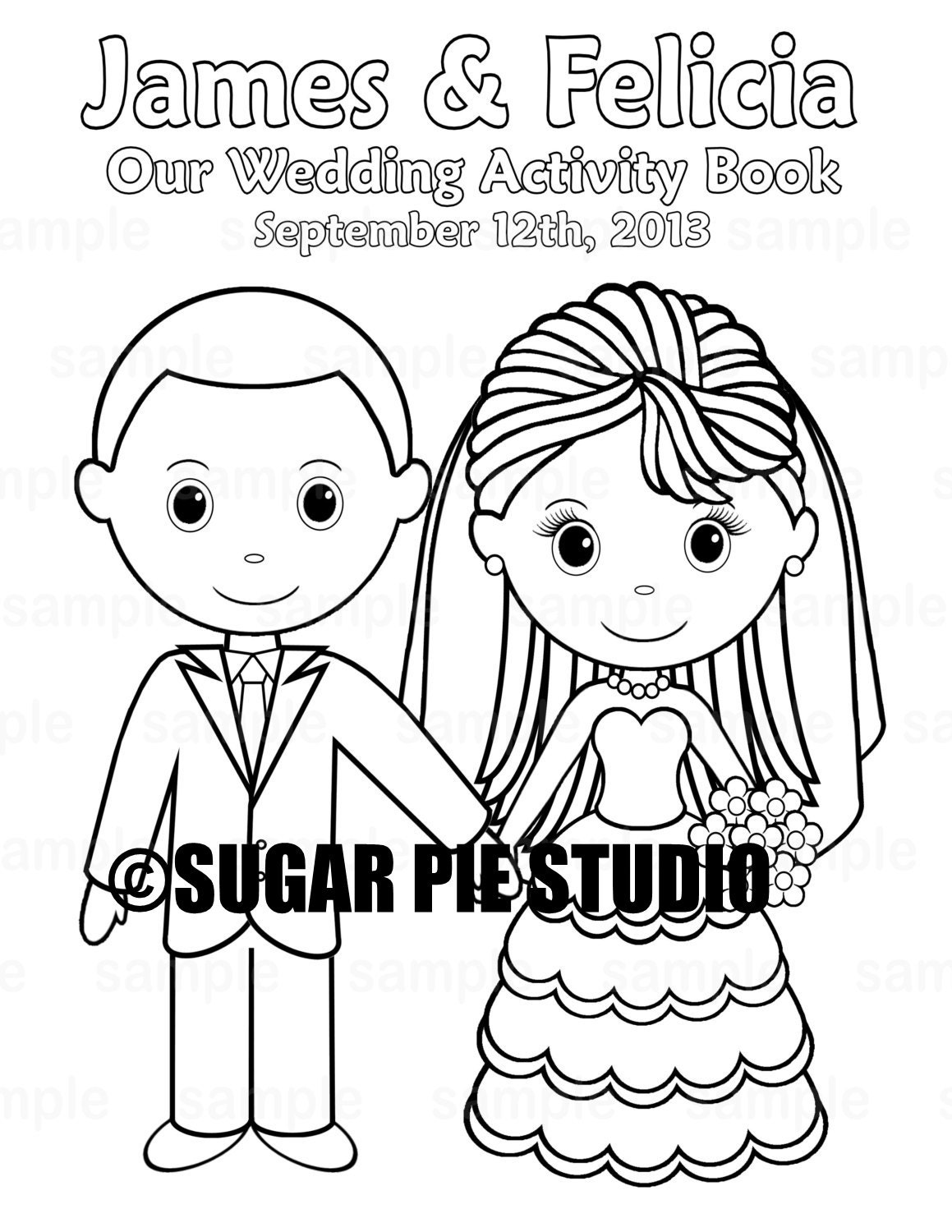 It's just an image of Playful Personalized Wedding Coloring Book