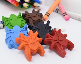 Bug Crayons - Set of 6 - Recycled Crayons - Party Favors - Stocking Stuffer - Spider - Beetle - Centipede - Boys Birthday - Little Boys