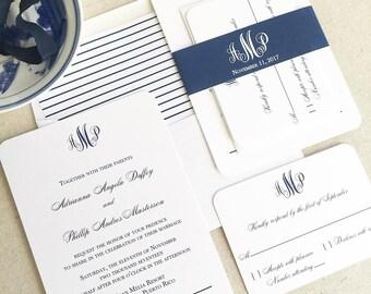 Navy Wedding Invite, Monogram Wedding Invitation, Navy Wedding Suite, Elegant Navy Wedding Invitation, Simple Wedding Invitation