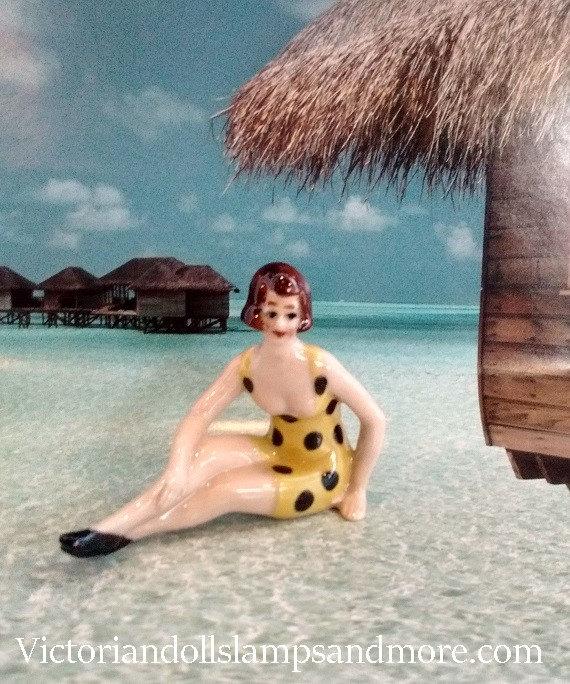 Polka Dot Bathing Beauty Sitting Figurine: New Sitting Bathing Beauty Yellow With Black Polka Dots And