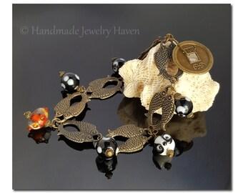 Panda Bracelet, Chinese Bracelet, Asian Luck Bracelet, Lampwork Bracelet, Beaded Bracelet, Asian Jewelry, Panda Jewelry, Mothers Day Gift